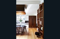 c\Contemporary kitchen with timber skylight, feature pendant lights, marble bench tops. With James Davidson Architect. Interiors by TWOFOLD STUDIO.