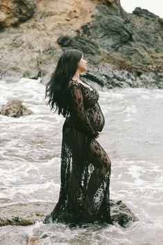 CAMILLE lace maternity gown long sleeve floor length black eyelash