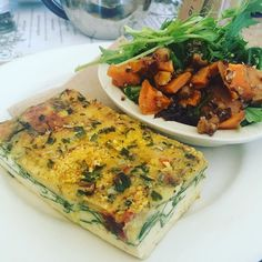 Tomato Lupin and Parmesan Frittata from Sensation En Ardross - the topping is Parmesan and Lupin Flakes which forms a nice cheesy crust // Roast sweet potato and quinoa salad completes this perfectly balanced and nourishing lunch!  #lupinflakes #health #natural #wholefoods #plantbased #protein #prebiotic #fibre #lupin #sustainable #superfoods #lowcarb #lovepulses #fitness #nutrition #lupins #lovelupins #glutenfree #nongm #sensationsenardross #sensationscafe #lupinfoods by lupinfoods