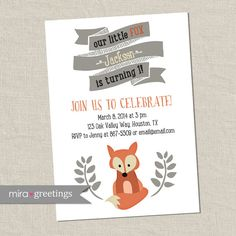 Fox Birthday Party Invitations  Little Woodland by miragreetings
