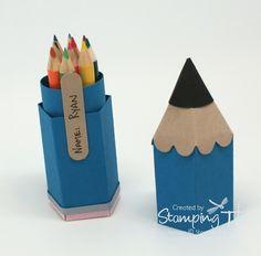Stampin Up! Stamping T! - Mini Pencil Box Open - matitone porta matite: supendo!