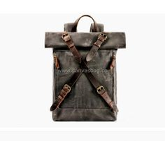 Leather Canvas Backpack (2) Canvas Backpack, Laptop Backpack, Leather Shoulder Bag, Leather Bag, Travel Bags, Designer Handbags, Backpacks, Bradley Mountain, Outfits