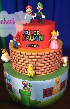 bolo super mario fake #bolomario #bolosupermario #festamario #mariobros Bolo Do Mario, Bolo Super Mario, Super Mario Bros, Mario Birthday Cake, 5th Birthday, Mario Y Luigi, Bolo Fake, Desserts, Food