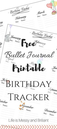 Here is a FREE bullet journal planner printable birthday tracker to help you stay organized and on your family and friend's events. Bullet Journal Birthday Tracker, Making A Bullet Journal, Bullet Journal Font, Bullet Journal Printables, Bullet Journal Junkies, Bullet Journals, Art Journals, Bujo, Planners