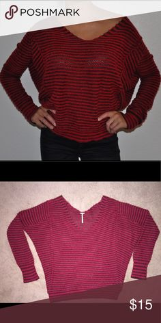 Fee People Red Striped Sweater Like new, great condition, lightweight, red and maroon stripes, fitted sleeves, short in length, free people purchase Free People Sweaters Crew & Scoop Necks