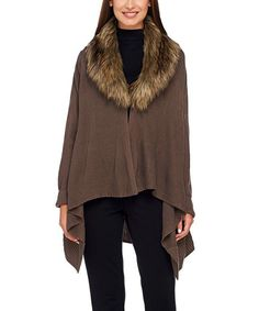 Look at this Mushroom Convertible Sidetail Poncho - Plus Too on #zulily today!