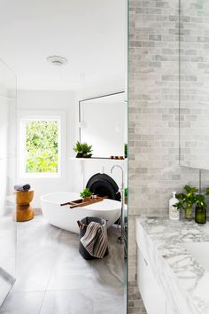 **Room by Amanda Lynn Interior Design** This family bathroom in a Melbourne Edwardian home was once a spare bedroom. With plenty of space to play with, Amanda chose a freestanding bath and a generous shower to create a luxurious bathing experience. Bad Inspiration, Bathroom Inspiration, Bathroom Ideas, Bathroom Goals, Bathroom Inspo, Bathroom Colours, Boho Bathroom, Bathroom Styling, Bathroom Organization