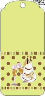 Bolo e Champagne - Kit Completo com molduras para convites, rótulos para guloseimas, lembrancinhas e imagens!