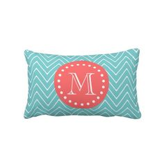 $52.95 - Teal and Coral Chevron with Custom Monogram Throw Pillows - Fun, stylish, modern chevron stripes in teal and white with personalized monogram initial on a coral circle tag with dots.