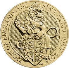 The 2016 UK Queen's Beasts The Lion 1oz Gold Coin is part of a new and exclusive bullion range from The Royal Mint, featuring an original reverse design. The coins reverse features a majestic lion and details the coin's weight, fineness and year-date.   The obverse design depicts the fifth portrait of Queen Elizabeth II, and the monetary denomination of £100. Both the obverse and reverse by British Coin Designer Jody Clark, creator of the latest definitive portrait of The Queen on UK…