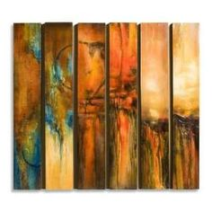 Contemporary Wall Panels | Modern Abstract Red Orange Long Painted Wall Panels: Home & Kitchen
