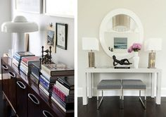 I like this clean white console table