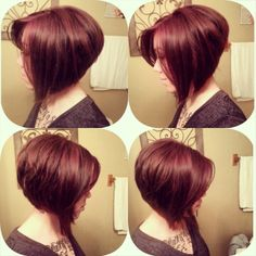 Short Hairstyle. A-line bob haircut with red hair color. @breeziebree