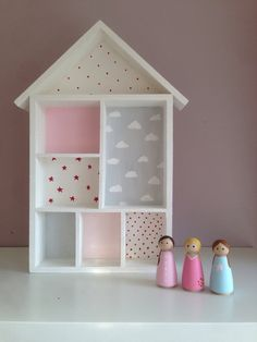 Wooden Dolls house, with peg dolls all hand painted