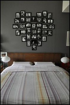 Photos in a heart shape above the bed ♥