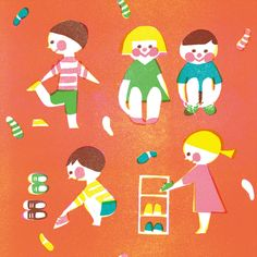 Untitled by Yamauchi Kazuaki / want it on a WHIM. Pattern Illustration, Graphic Illustration, Charity Branding, Illustrations And Posters, People Illustrations, Child Day, Creative Advertising, Pictures To Draw, Cute Drawings