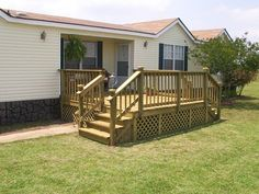 Mobile Home Deck Ideas | On this page you'll find the work we have done on mobile homes and ... Front Porch Deck, Front Porch Design, Deck Design, Porch Privacy, Front Porches, Mobile Home Steps, Mobile Home Deck, Mobile Home Renovations, Remodeling Mobile Homes