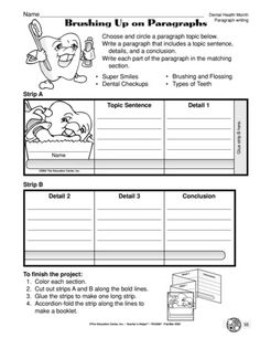 Use the topic of dental health to practice paragraph writing. Topic sentence, details, and conclusion are required. Have students assemble the booklet and/or use their writing to publish a paragraph. Topic Sentences, Paragraph Writing, Writing Worksheets, Student Teaching, Dental Health, Booklet, Students, Science, Names