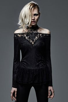 Serafima gothic top by Punk Rave is made from stretchy jacquard knitted fabric. It has a V-neck at the front and back where it is detailed with beautiful black lace.