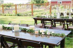 backyard wedding reception - long tables