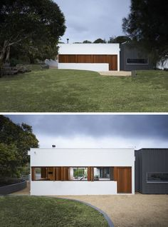 12 Minimalist Modern House Exteriors From Around The World | The combination of white, wood, and black on the exterior of this minimalist home make it look warm and inviting despite its simple design.