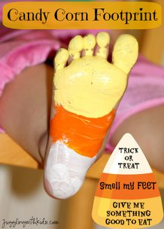 Candy Corn Footprint! Halloween Fun Pinned by StaffRehab www.pinterest.com/staffrehab