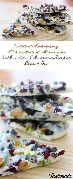 Cranberry Pistachio White Chocolate Bark ~ Recipe A colorful, flavorful and, most importantly, super easy way to whip up a holiday treat. Christmas Bark, Christmas Sweets, Christmas Cooking, Christmas Recipes, Christmas Holiday, Christmas Chocolate, White Chocolate Bark, Almond Chocolate, Chocolate Chips
