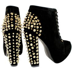 WOMENS SUEDE HIGH HEEL PLATFORM ANKLE BOOTS LACE UP GOLD SPIKES LADIES... ❤ liked on Polyvore