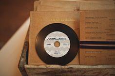 Wedding playlist cd favors that look like vinyl records!