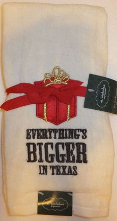 Hand Towel Everything's Bigger In Texas Decorative Christmas Gift Towel 2 New #StNicholasSquare