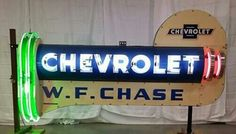 Chevrolet Neon Sign! Car Signs, Neon Signs, Advertising Signs, Ads, Custom Garages, O Gas, New Trucks, Vintage Signs, Man Cave