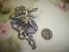 Retro JJ  Jonet Jewelry  Pewter Floral Fairy Brooch w/ Jewel and Purple Sparkles