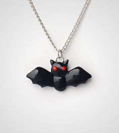 Bat+Necklace+Halloween+Pendant++Polymer+Clay+Scary+by+PixieHearts,+$17.50