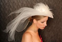 Sophisticated Bridal Coctail WEDDING HAT with veil and flowers. Fabulous.... $254,00, via Etsy.