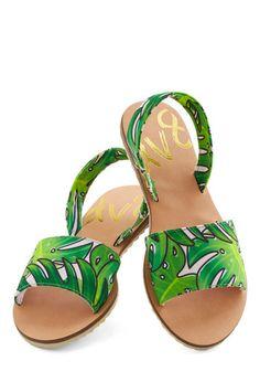 Balmy Springs Sandal by Dolce Vita - Woven, Flat, Green, Black, White, Beach/Resort, Summer, Good, Novelty Print, Statement