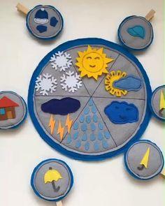 Доброе утро и солнечного вам денечка!  Календарь погоды из фетра от рукодельницы Насти @happymoment_s на улице солнце - не забудь шляпу ⛅облачно - захвати ещё и зонт ☁тучки - зонт точно пригодится ☔за окном дождь - гуляй под зонтом ⚡молния и гром - останься дома ❄снег - доставай шапку и рукавицы  У природы нет плохой погоды, каждая погода благодать  Ещё больше интересных игр  #фетр_вовика