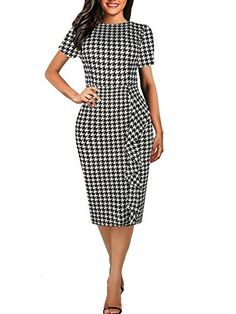 07561d9488 oxiuly Women s Vintage Houndstooth Short Sleeve Round Neck Work Business  Pencil Bodycon Summer Dress Work Dresses