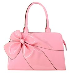 Designer Inspired Big Ribbon Patent Leather Handbag Pink