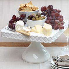 Grapes and cheese on cake plate- centerpiece for wedding tables?