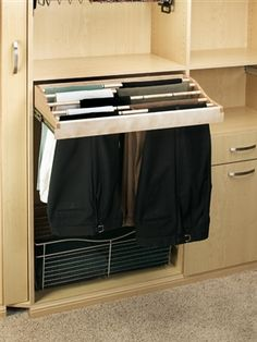 Rev-A-Shelf CWPR Series Pull-Out Wood Pant Organizer for Closet - also use this concept for towels in the bathroom and/or kitchen