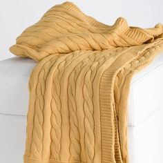 I pinned this Ella Cable Knit Throw in Mustard from the Trendspotting: Cable Knit event at Joss and Main!