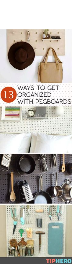 Spring is often the time we think of clearing out and getting organized so we put together a clever collection of ways you can use the ever handy peg board to bring a whole new level of organization to your home. From the kitchen to the laundry room to the garage to the craft table, your keys, tools, toys, books and more will be easy to find with these organizational tips. Click and get organized!