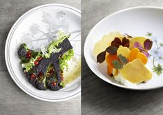 Two dishes from Restaurant Bror's set four course menu.