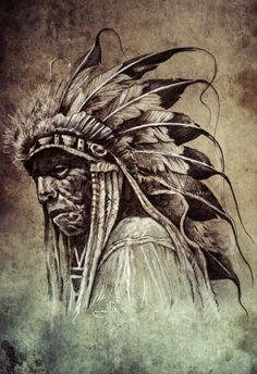 Sketch of tattoo art, native american indian head, chief, vintage ...