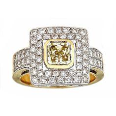 18k Two-tone Gold 2 1/5ct TDW White and Fancy Light Diamond IGI Certified Ring