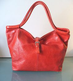 Vintage Heyraud Red Leather  Tote Bag by TheOldBagOnline on Etsy