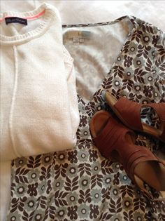 White M&S sweater, print Boden dress, tan Van Dal sandals Tan Vans, Capsule Wardrobe, Sandals, Sweaters, Collection, Dresses, Boden, Vestidos, Shoes Sandals