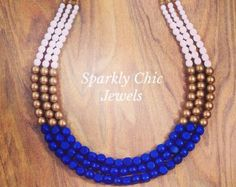 Blue and gold triple strand necklace