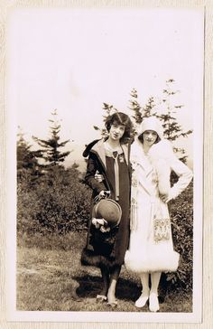 Two Flapper Girls in Black & White  Fur Stoles and by vonderval, $8.75