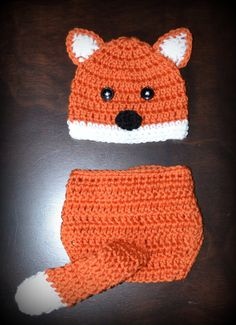 Cutest thing ever!!! @Sara Eriksson Christiansen    Etsy.com-Crochet Fox Baby Beanie Hat  Diaper Cover Photo by CubbyCreations, $35.00.